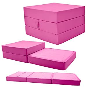 ADULT CHAIRBED - PINK Large Cube Chair Bed Pouffe - fold out guest bed Gilda