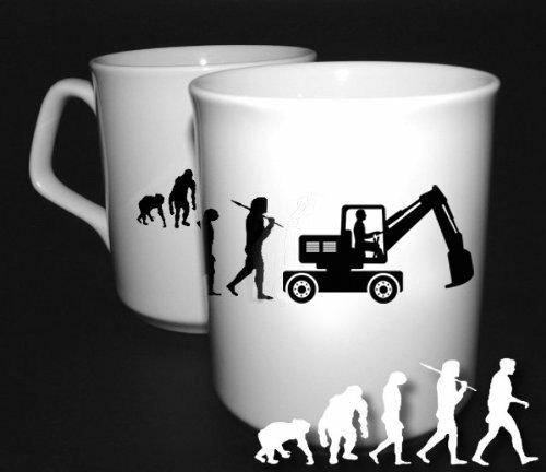 Preisvergleich Produktbild Bagger Baggerfahrer Bauarbeiter Baustelle Evolution BÜROTASSE BUEROTASSE TASSE KAFFETASSE MUG