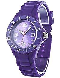 Reloj - SODIAL(R)Clasico Elegante Silicona Banda de Jalea Reloj de pulsera de