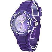 Reloj - SODIAL(R)Clasico Elegante Silicona Banda de Jalea Reloj de pulsera de mujer (Purpura)