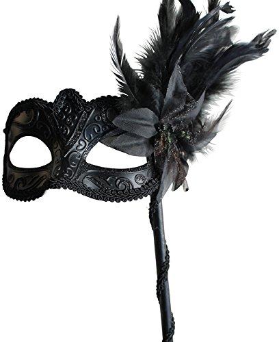 Damen Schwarze Funkelnd Venezianische Maskerade Karneval Maske mit Blumen und Federn - Auf Einem stock