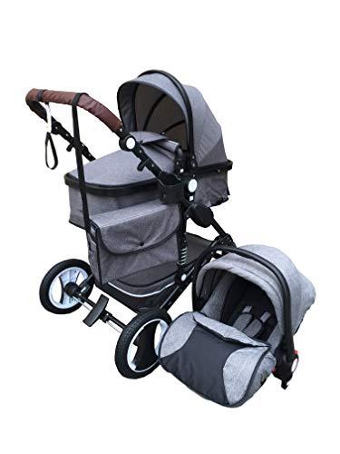 """Kinderwagen \""""Florida\"""", 3 in 1 Kombikinderwagen Megaset 8 teilig inkl. Babyschale, Babywanne, Sportwagen und Zubehör, zertifiziert nach der Sicherheitsnorm EN1888, Jeans"""