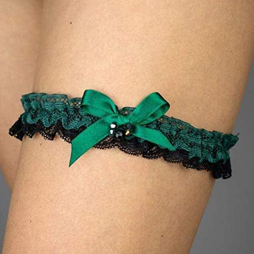 Giarrettiera di pizzo matrimonio sposa biancheria intima regali de nozze addio al nubilato verde nero