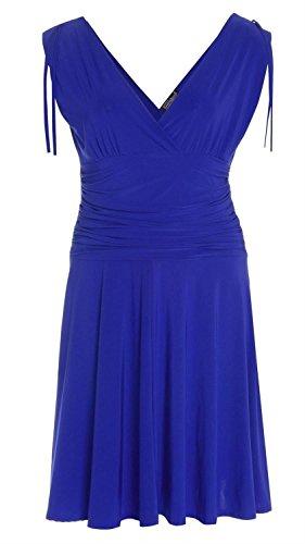 Neue Damen Grecian Art-Abend-Weste-Kleid S-L Royal Blue