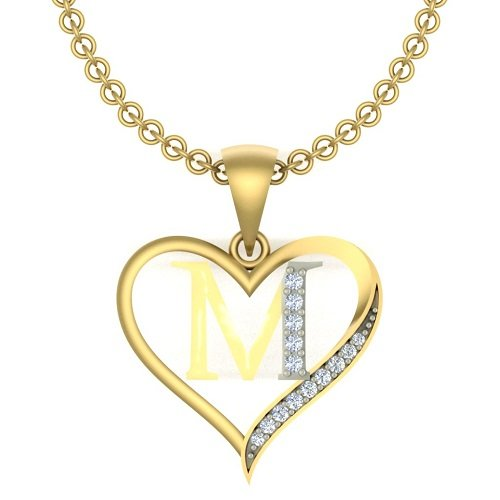 "Kanak Jewels Initial Letter ""M"" In Heart Shaped With Chain Gold Plated Cubic Zirconia Brass Pendant For Everyone"