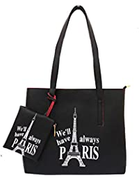 Tote bags for college girls stylish By Online Fashion Bazaar- Handbags & Shoulder Pu Leather Material Tote Bag for Office And Shopping Party Daily Use for Women Ladies And Girls (Black,HB-10)