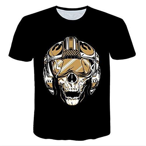 Herren Neuheit T-Shirt 2019 Sommer Casual Kurzarm 3D Digital Gedruckt T Shirt Tops Premium,Neuheit 3D Rundhals schwarz XL -