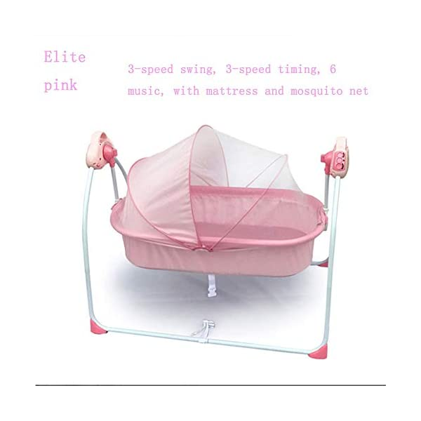 Mr.LQ Electric Shaker Electric Cradle Bed Baby Shake Bed Newborn Sleeping Intelligent Automatic Flat Lay Crib,Pink  ?Special design: Carefully design every detail to create a comfortable feeling for your baby. It is closer to the mother's arms. ?Safety: thick steel pipe, strong carrying capacity, anti-slip mat on the foot, ensuring the base is strong, will not damage the floor ?Additional features: 3-speed swing, 3-speed timing, 6 music, with mattress and mosquito net 7