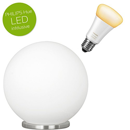 Runde Tischleuchte Rondo Opalglas weiß E27 Lampe inkl. Philips Hue LED White Ambiance, dimmbar, alle Weißschattierungen (Opalglas-tischleuchte)