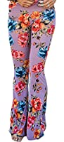 X-Future Womens Casual Floral Print Bell-Bottoms Wide Leg Palazzo Pant Trouser Pink XS