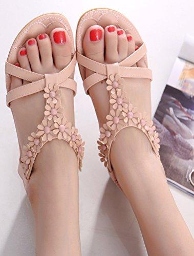 Vogstyle Femme Sandales Compensées Tongs Semelle Chaussures Plates Eté Flip Flops Style 9 Rose pâle