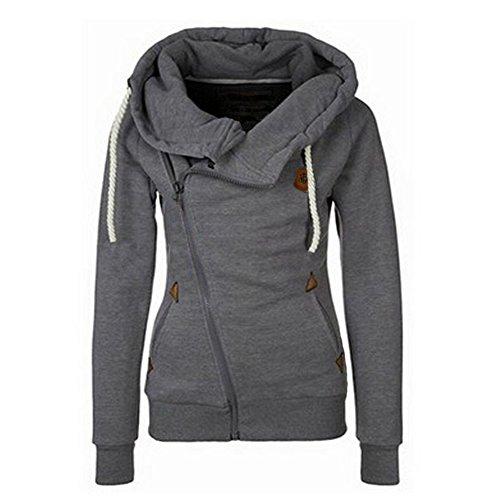 Newbestyle Frühling Herbst Damen Sweatshirt Langärmelige Frauen Outerwear mit Kapuzen und Schrägem Reißverschluss (Medium, Dunkelgrau)