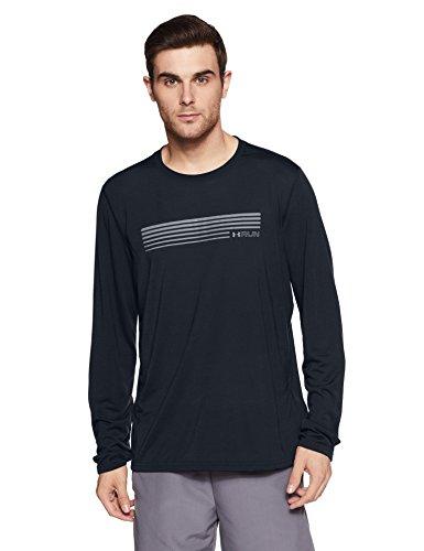 Under Armour Herren UA Run Graphic LS Langarmshirt, Black, L (Sleeve Long Run Tee)