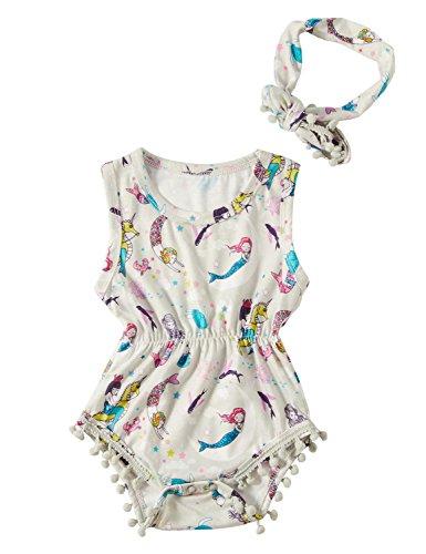 chicolife neugeborenes Baby Mädchen Meerjungfrau Overall Body mit Stirnbänder Outfit weiß 0-3 Monate (Für Mädchen Meerjungfrau-outfit)