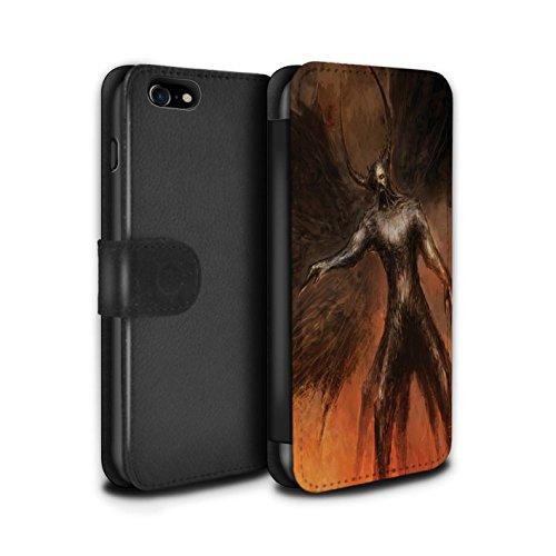 Offiziell Chris Cold PU-Leder Hülle/Case/Tasche/Cover für Apple iPhone 7 / Schwarzen Flügeln Muster / Dunkle Kunst Dämon Kollektion Schwarzen Flügeln