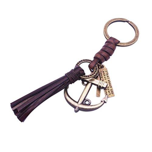 Fengteng Bronze Farbe Marine Anker Schlüsselanhänger mit Leder Quaste Seil maritim Anker Kreuz Schlüsselring Nautisch Segeln Kruzifix Schlüsselbund Punk Herren Schmuck