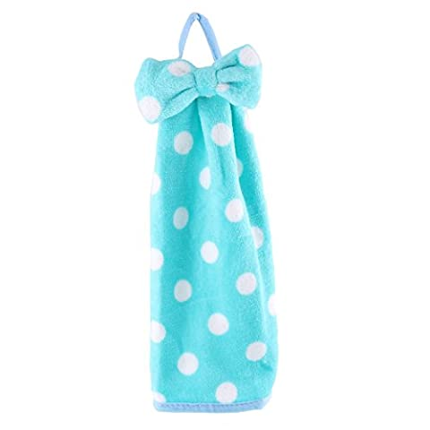 sourcingmap® Coral Fleece Dots Pattern Household Wall Hanging Cleaning Hand Drying Towel Cyan