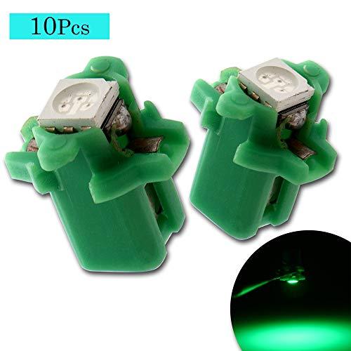 Grandview 10pcs Verde T5 B8.5 Lampadine Cruscotto 5050 1-SMD Luci Strumento Sostituzione per Auto Aria Condizionata Luce Luce Dello Strumento Luce Posizione Luce Posacenere Luce (DC 12V)