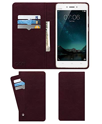 Acm Wallet Leather Flip Carry Case for Vivo V3 Max Mobile Flap Card Holder Front & Back Cover Burgundy Red