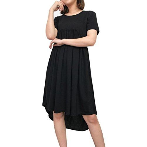 Muttertag Frauen Rundhals Kurzarm Taschen Plissee Lose Unregelmäßige Casual Langes Kleid(Schwarz,EU-40/CN-M) (Baby-kleidung Online-boutique)