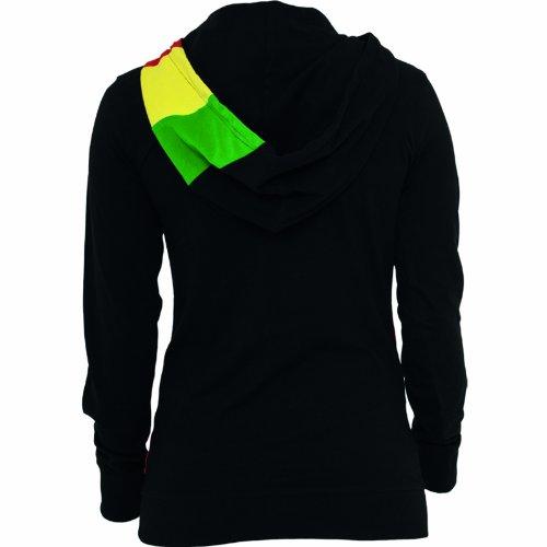 "Urban Classics Femme Jeune Mode ""Ladies Zig Zag Jersey Hoody"" noir-rasta"