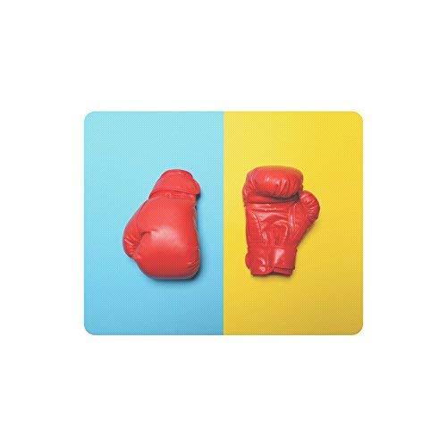 Lustige rote Boxhandschuhe auf Blauer und gelber Hintergrund-Rechteck-Rutschfester Gummi-Mausunterlage Spiel Mousepad Matte für Frauen-Mann-Angestellt-Chef Work (Boxhandschuhe Spielen)