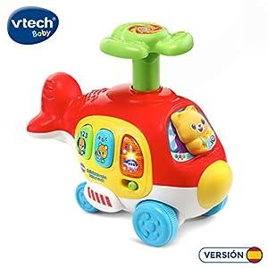 VTech- Helicóptero Veloz Arrastre Interactivo, pulsa, Rueda, Juega, Color (3480-513922)
