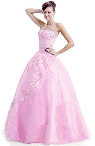 Faironly M28 Frauen trägerlosen Abendkleid Formal (S, Rosa)