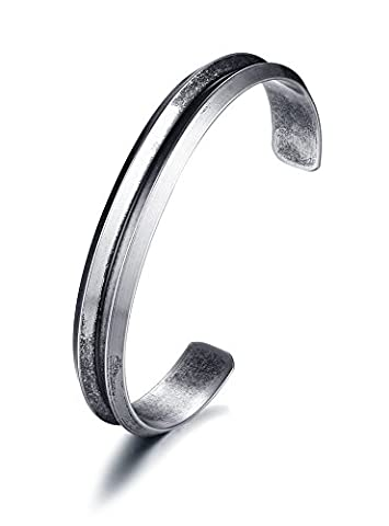 Vnox Men's Stainless Steel Pewter Band Groove Open Cuff Bangle Bracelet Antique Retro Freestyle Grey
