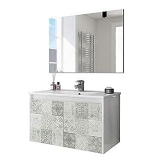 ARKITMOBEL 305034BO – Mueble de baño Due Dos Puertas con Estampado baldosas, modulo Lavabo Colgante Color Blanco Brillo y Arlo (Mosaico hidráulico), Medidas: 80cm (Ancho) x 48cm (Alto) x 45cm (Fondo)