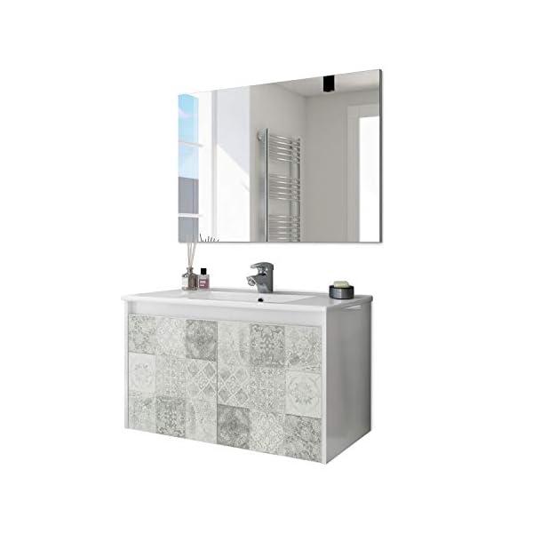ARKITMOBEL 305034BO – Mueble de baño Due Dos Puertas con Estampado baldosas, modulo Lavabo Colgante Color Blanco Brillo…