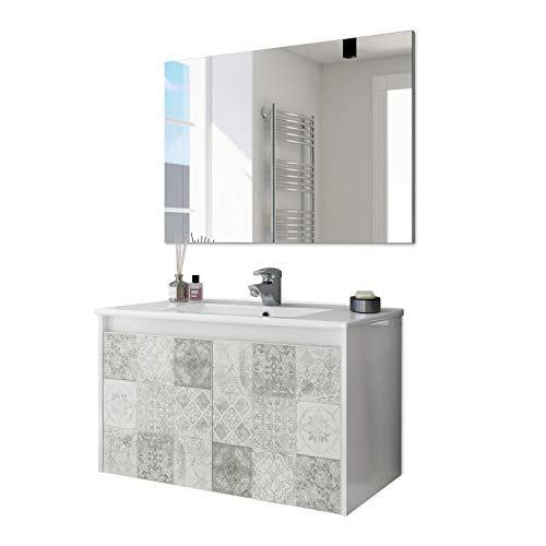 ARKITMOBEL 305034BO - Mueble de baño Due Dos Puertas con Estampado baldosas, modulo Lavabo Colgante Color Blanco Brillo y Arlo (Mosaico hidráulico), Medidas: 80cm (Ancho) x 48cm (Alto) x 45cm (Fondo)