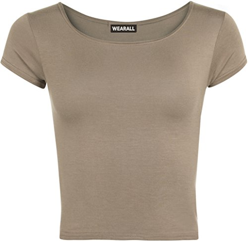 ebf7071768d5 Womens Plain Crop Short Sleeve Top Round Neck Stretch Ladies Bra Vest -  Mocha - 8 10 - Buy Online in Oman.