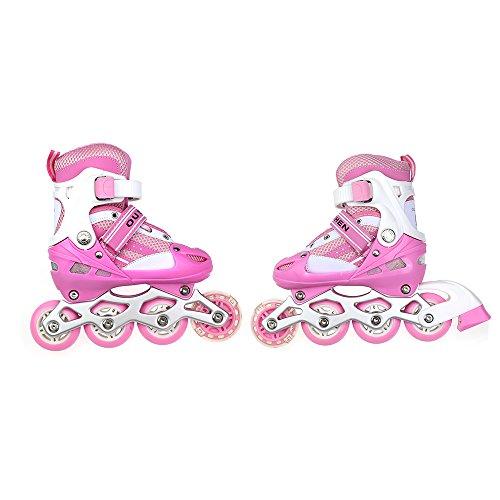 Rollers réglables avec le rôle clignotant patins à roulettes pour enfants, taille: 31-34, Rose