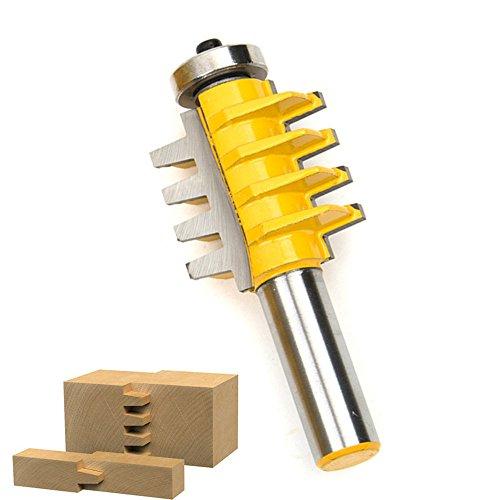 SROL Holzfräser, einstellbar, zum Fräsen von Nut und Feder, für Bodenbelag, 3Zähne, Zapfenschneider, mit 1-cm-Schaft -
