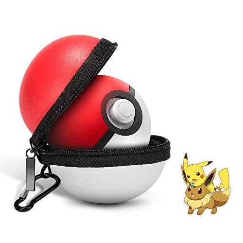 Estuche portátil para control de Nintendo Switch Poke Ball Plus, estuche Pokeball Plus para Pokemon Lets Go Pikachu/Eevee Game (blanco y rojo)