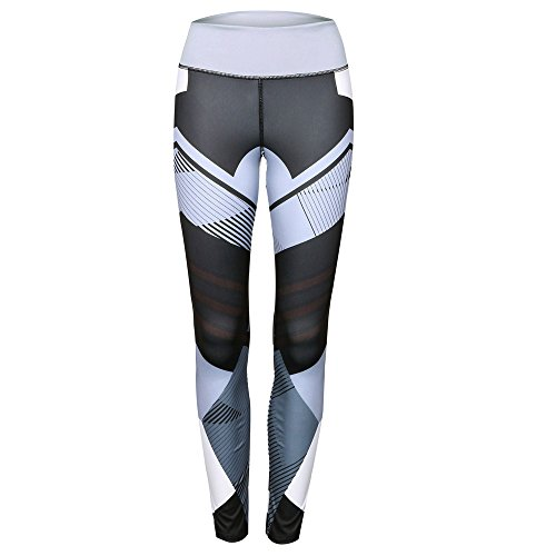 NINGSANJIN Damen Yoga Leggings Hosen Trainings laufende Pfirsich Hüfte (Grau,M)