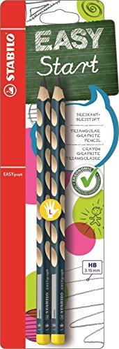 Ergonomischer Dreikant-Bleistift - STABILO EASYgraph in petrol - 2er Pack - Härtegrad HB - für Linkshänder
