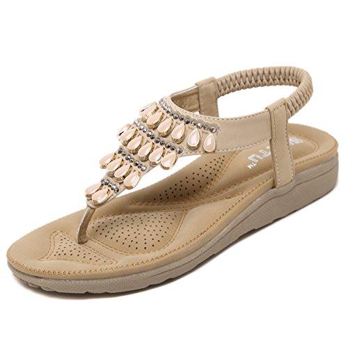 Sandali casual da donna con gemme e strass confortevole infradito traspirante scarpe da spiaggia piatte per donna estate