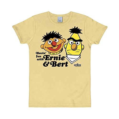 T-Shirt Ernie und Bert - Sesamstrasse - Rundhals Shirt - Rundhals Shirt von LOGOSHIRT - gelb - Originaldesign, Größe M