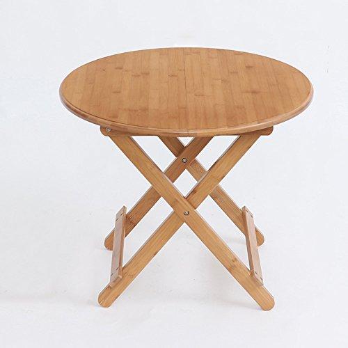ZHIRONG Table pliante Table Table d'étude circulaire Bamboo Arts Table de pique-nique Table Barbecue Table d'extérieur (taille : 60 * 60 * 50cm)