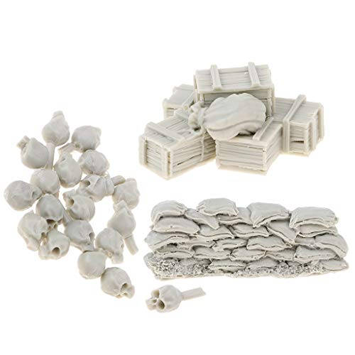 B Blesiya Escala 1:35 Modelo Pared de Saco de Arena + Cajas + Cráneo Prop Juguete en Miniatura