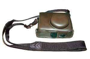Un Etui caisson à deux volets en cuir rigide avec un creux fileté pour le trépied pour appareils photo numériques Nikon P7000 (de couleur noir marron).