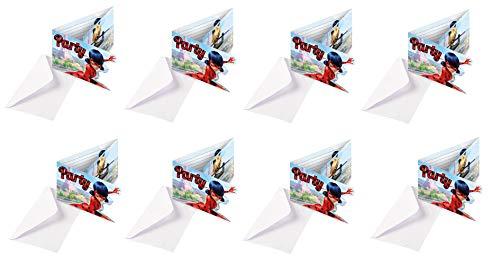 16-teiliges Einladungskarten-Set * MIRACULOUS * für eine Mottoparty oder Kindergeburtstag // von Amscan // Ladybug Marienkäfer Superheld Party Geburtstag Einladung Invites