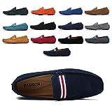 AARDIMI Mocassins en Daim Hommes Penny Loafers Casual Bateau Chaussures de Ville Flats 38-49 (Bleu,45EU)