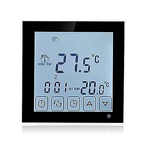 BEOK tds23-ep Raumthermostat Thermostat programmierbar Touchscreen Temperatur Controller mit langem extern Sensor für elektrische Fußbodenheizung, 200V bis 240V, 16A, schwarz, 240.00 voltsV