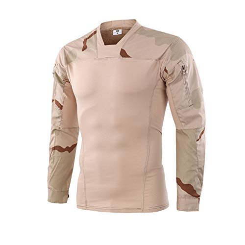 Cebbay Tactical Clothing Tactical Shirt Camouflage Sewn Long Sleeve. Outdoor Casual Fashion Autumn and Winter Outdoor Clearance (EU Size S = Tag M, Yellow)