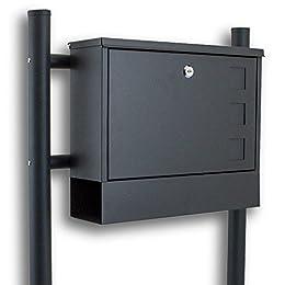 BITUXX® Standbriefkasten Briefkasten Postkasten Mailbox Briefkastenanlage mit integrierten Zeitungsfach Dunkelgrau