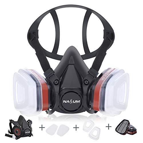 NASUM Respirateur de Protection Kit de Masque avec 2 Filtres/2 Boîtes/2 Cotons Filtrants, Réutilisable Anti-Poussière/Particule/Vapeur/Gaz, pour Pulvérisation/Peinture/Industrie/Agriculture, Noir