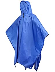Terra Hiker Poncho de Lluvia Multi-funcional, Esterilla 3-en-1, Sombrilla o Impermeable de Doble Capa Impermeable para la Escalada, Senderismo, Camping, Ciclismo, Pesca y Caza, en Naranja o Azul (Azul)